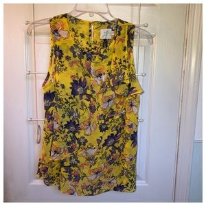 Anthro HD in Paris floral sleeveless blouse, sz 4